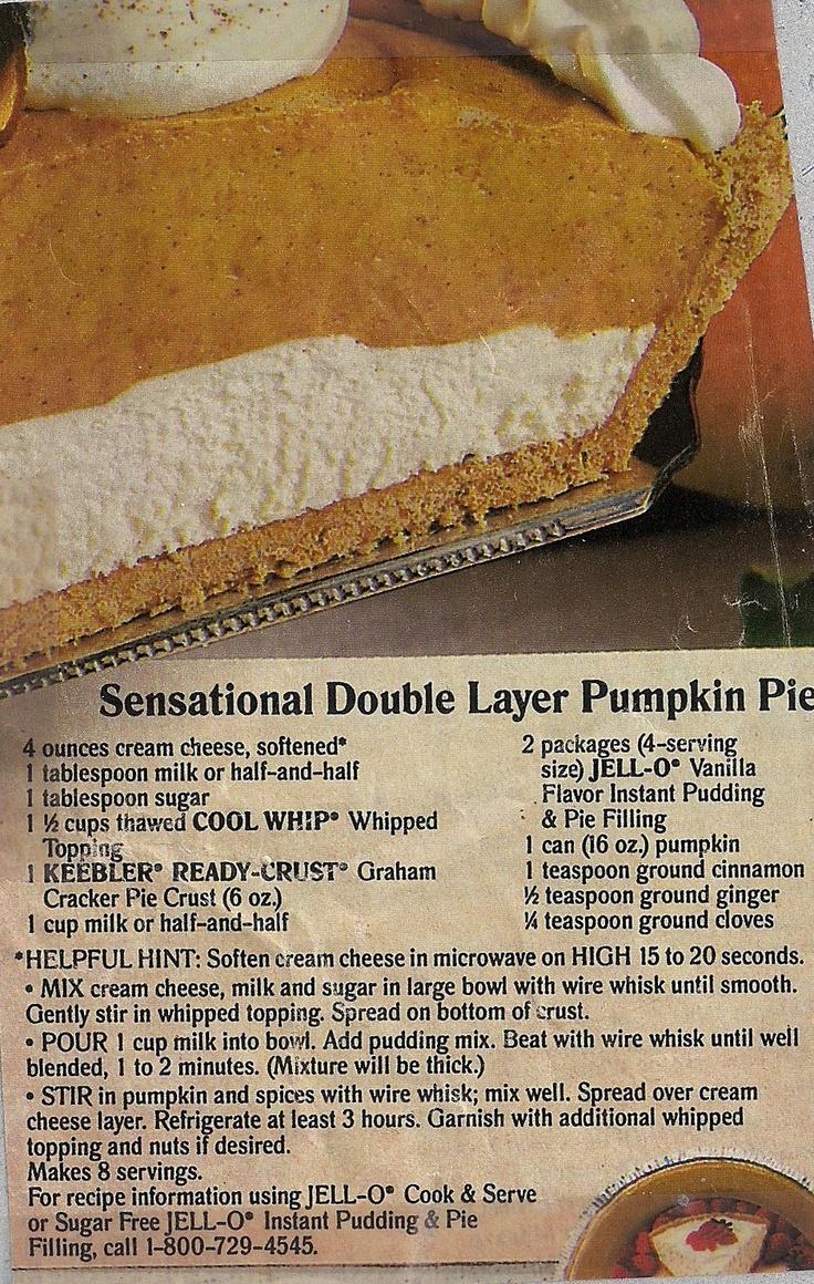 Sensational Double Layer Pumpkin Pie