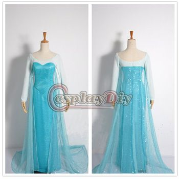 Custom Made New Edition Frozen Elsa Dress Movie Cosplay Costume For Adult