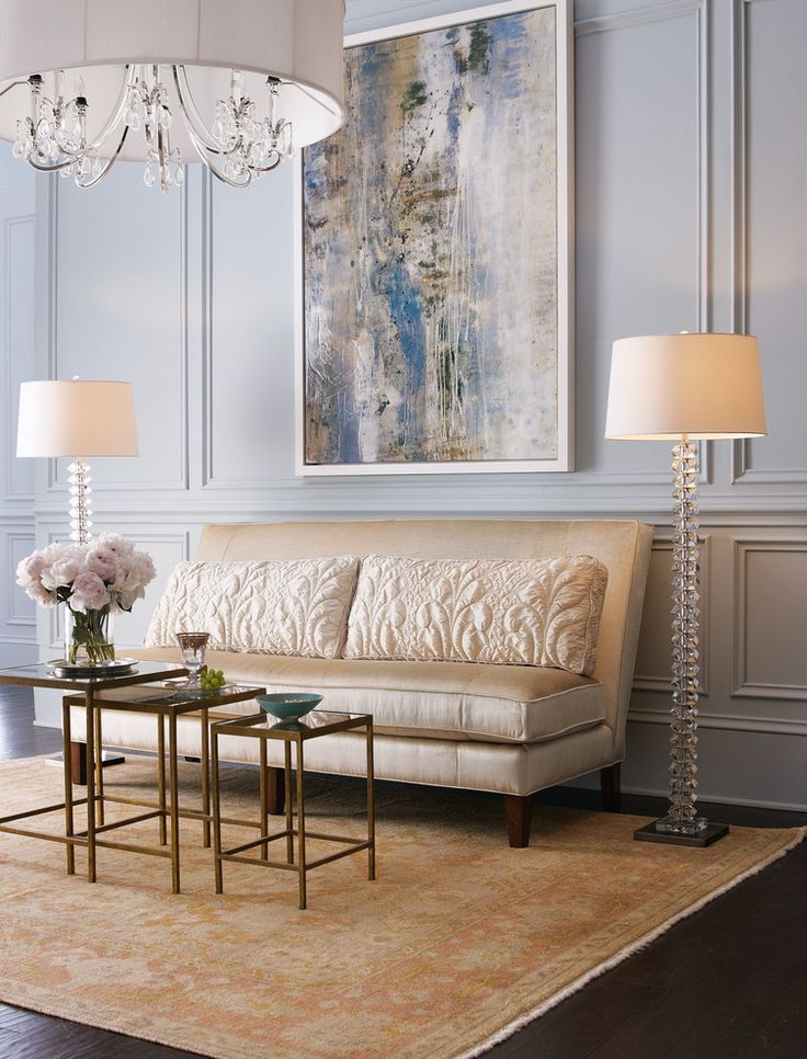 Pretty Armless Sofa In Living Room Traditional With Chair Railing Molding Next To Nesting Tables Alongside Dining Rail And Painting Paneling