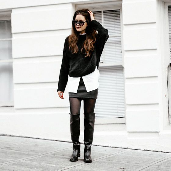 Get this look: http://lb.nu/look/7041488  More looks by Sarah: http://lb.nu/sarahstylesseattle  Items in this look:  Vince Sweater, Sam Edelman Skirt, Seychelles Boots, Alexander Wang Top, Céline Sunglasses   #chic #minimal #street