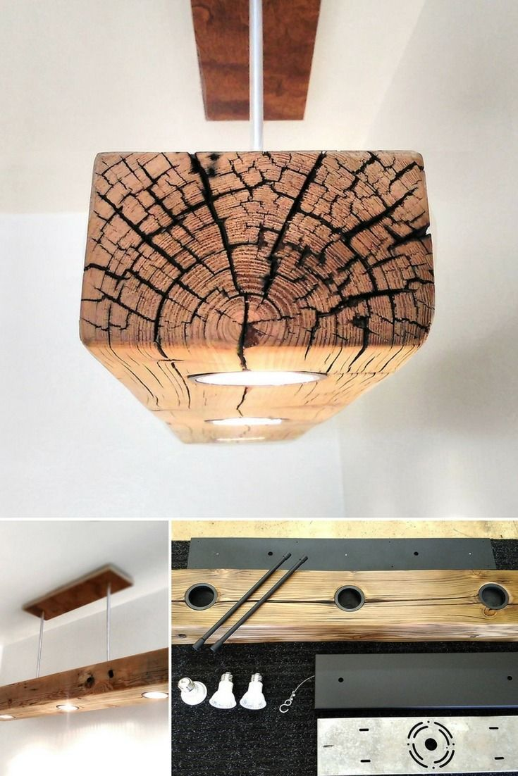 Reclaimed Wood Beam Spot Led Light Fixture Pendant Lighting These High Quality Custom Built Rus Deckenlampe Holz Industrie Leuchten Lampe Selber Bauen