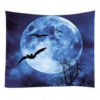 Wall Hanging Art Halloween Moon Bat Print Tapestry - DEEP BLUE W59 INCH * L51 INCH