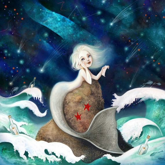 Star Of The Sea 8X8 -- mermaid art, siren print, mermaid love, children's art, night constellations, storybook illustration by Meluseena