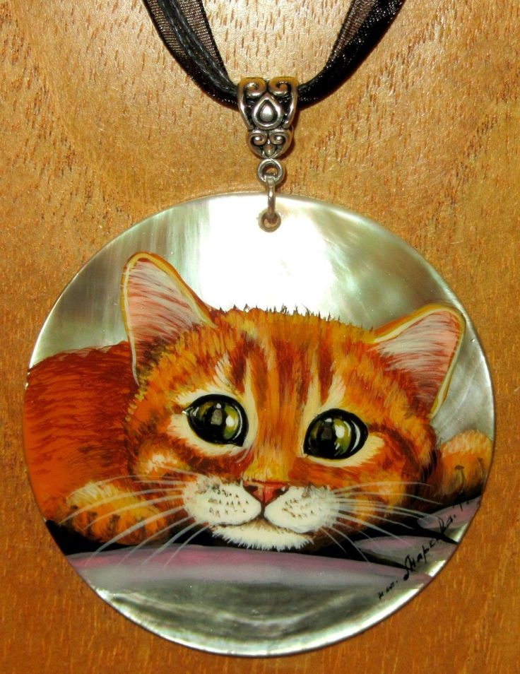Russe COQUILLAGE peint à la main pendentif GINGEMBRE chat chaton signé MARKOV in Bijoux, montres, Bijoux fantaisie, Colliers, pendentifs | eBay