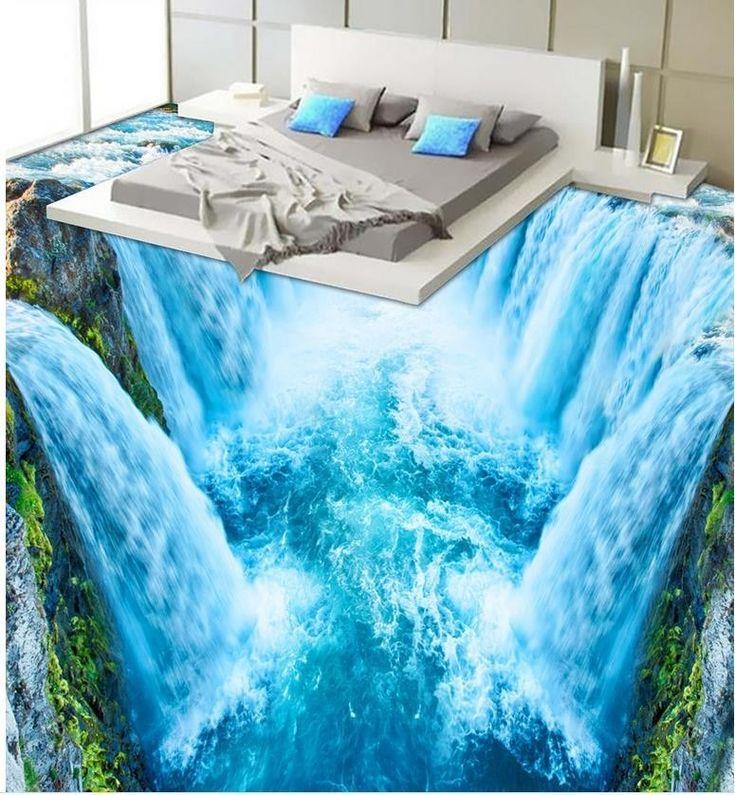 3D wallpaper 3d floor murals PVC 3D waterfall bathroom living room floor PVC wat…