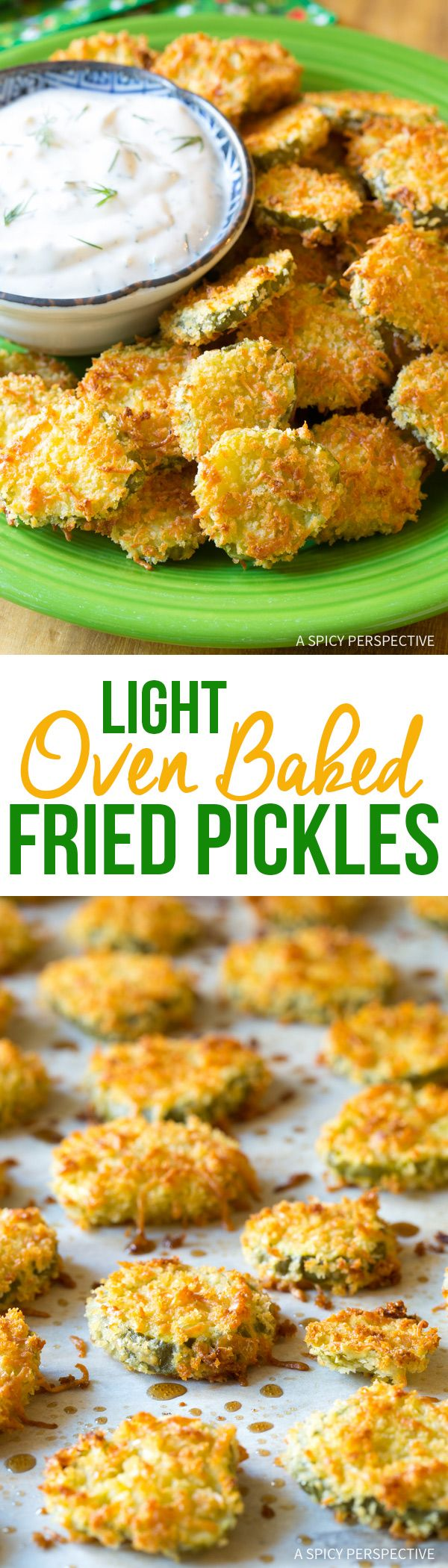 "Light Oven Baked ""Fried"" Pickles with Garlic Sauce recipe from @spicyperspectiv"