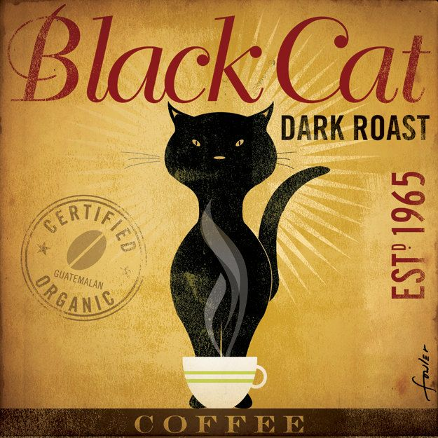 Black Cat Dark Roast Coffee original illustration graphic artwork on canvas 12 x 12 by stephen fowler. $79.00, via Etsy.