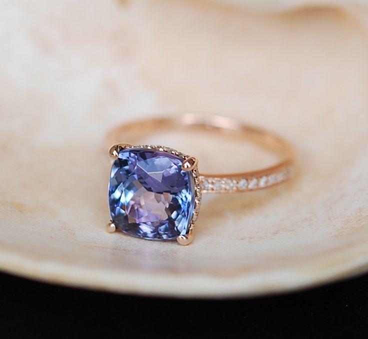 Tanzanite Ring. Rose Gold Engagement Ring Lavender Mint Tanzanite emarald cut halo engagement ring 14k rose gold. by EidelPrecious on Etsy https://www.etsy.com/listing/236522492/tanzanite-ring-rose-gold-engagement-ring