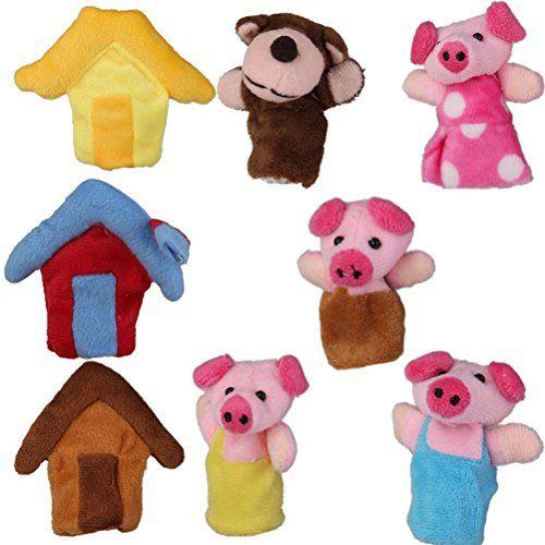 ROSENICE 8 St�ck Pl�sch Fingerpuppen Spielzeug Drei Kleine Schweine Pl�schspielzeug