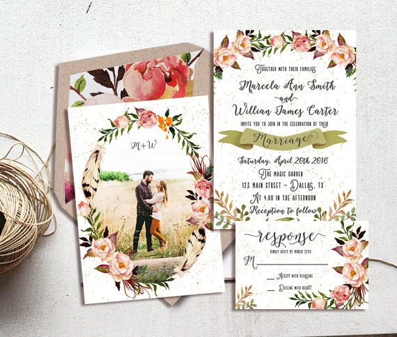 Rustic Floral Wedding Invitation Wedding By Ohlillydesigns On Etsy