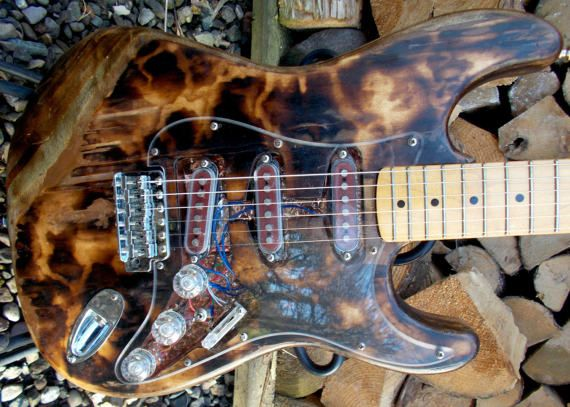 Pyrograph partscaster  one of a kind S type by JohnWoodBarclay
