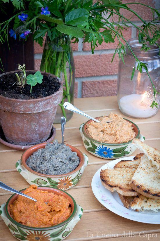 tre salse per crostini e aperitivo