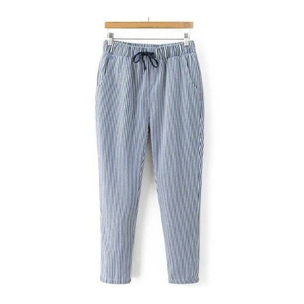 Striped Drawstring Waist Loose Harem Pants ($20) ❤ liked on Polyvore featuring pants, blue striped pants, blue trousers, loose fit pants, blue stripe pants and striped pants