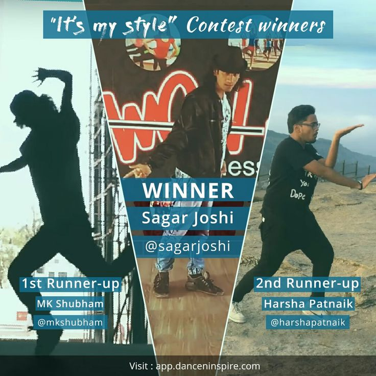"Believe in yourself and the world will believe in you too! Presenting the winners of ""It's my style"" dance contest -  #WINNER: Sagar Joshi #1stRunnerUp: MK Shubham #2ndRunnerUp: Harsha Patnaik  Next contest ""Be my Valentine"" has already started. Must post your entries sooner (@danceninspire app link in profile)  #contest #winners #dancerslife #passionfordance #dancevideo #dancecontest #itsmystyle #giveaway #dancemotivation #danceninspire"