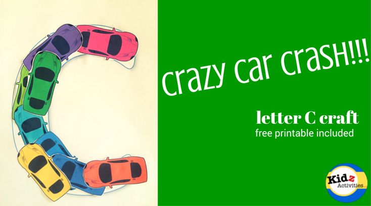 This is a super simple letter C craft for preschoolers: Crazy Car Crash!!! Pre-cut the cars and use it as a craft for toddlers as well.