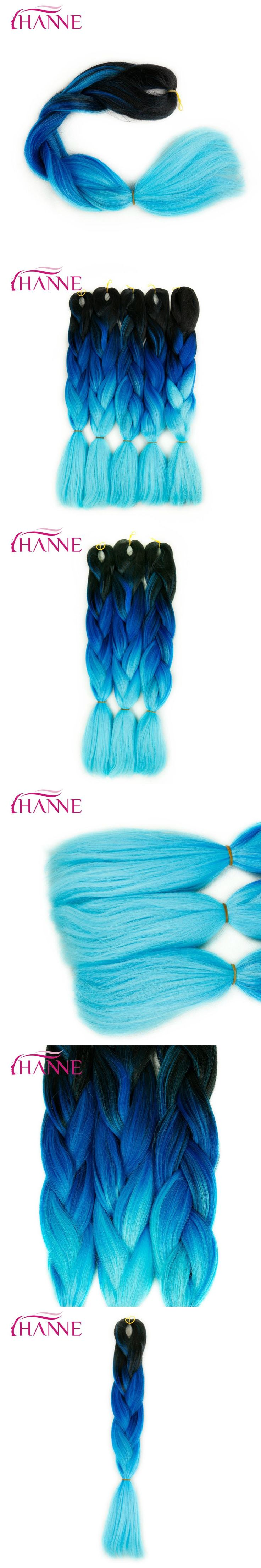 "HANNE Crochet Hair Extensions Synthetic Black To Blue Light Blue High Temperature Fiber Ombre Braiding Hair 24"" 100G Jumbo Braid"