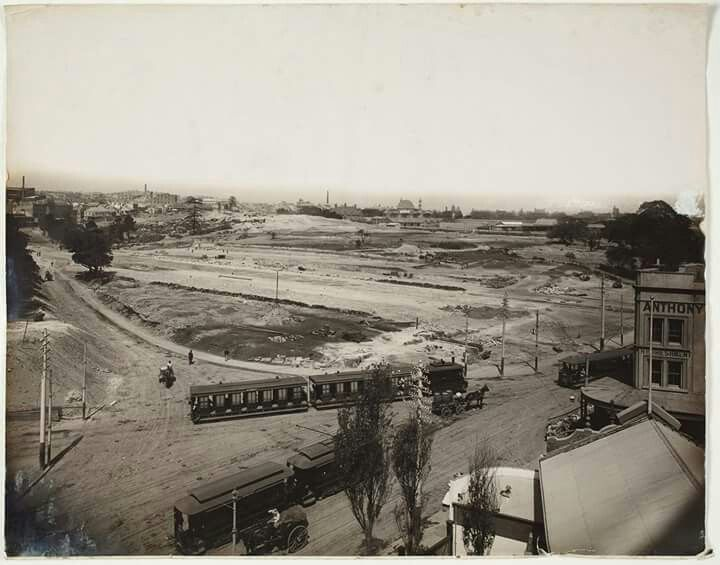 Late 1901-02 Sandhills Cemetery (Devonshire Street Cemetery) after removal of remains and early preparation of site for Central Railway Station in Sydney.Elizabeth St is on the right.Devonshire St running through the middle. State Library of New South Wales