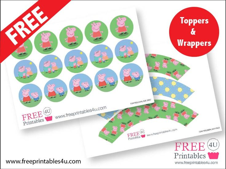 Free Peppa Pig Printable Cupcake Toppers and Wrappers