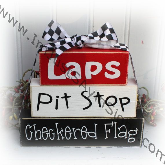 Laps Pit Stop Checkered Flag Race Fan Itty by ImJustSayinSigns