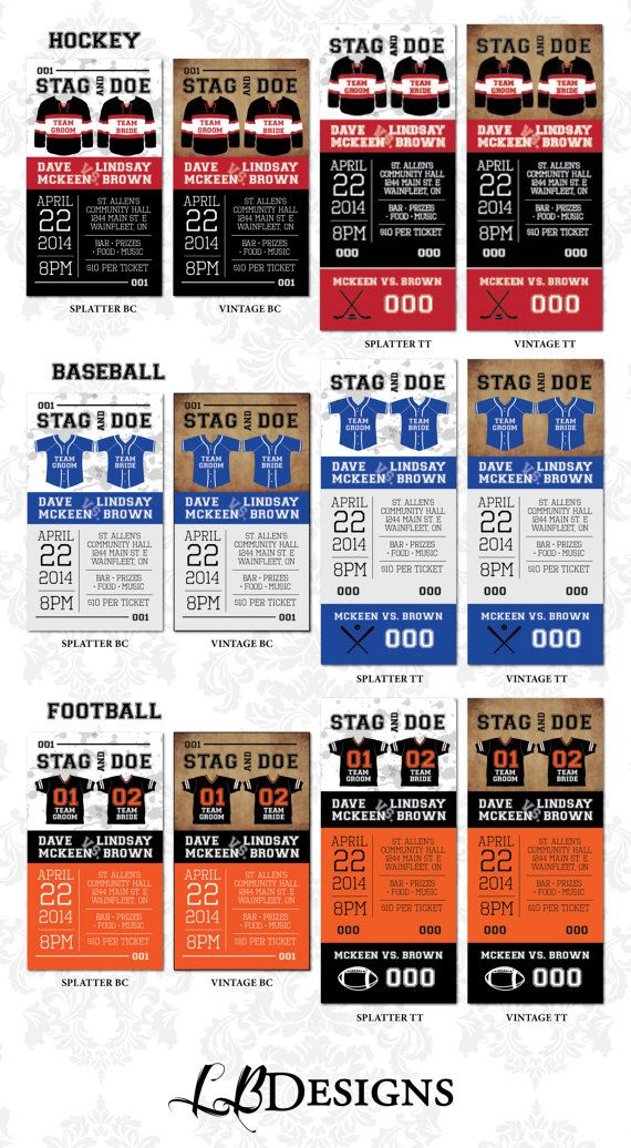 Stag and Doe Ticket  Sports Theme / Jersey by LindsayBrownDesigns