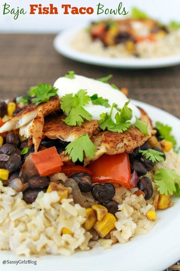 Baja Fish Taco Bowls | Sassy Girlz Blog Perfectly seasoned Tilapia, black bean and corn salsa over brown rice. Add a margarita and you've got a whole fiesta!