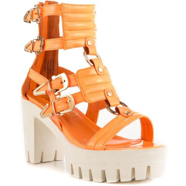 Privileged Women's Coffee Run - Orange ($52) ❤ liked on Polyvore featuring shoes, sandals, high heel platform shoes, orange block heel sandals, block heel sandals, high heeled footwear and orange high heel sandals