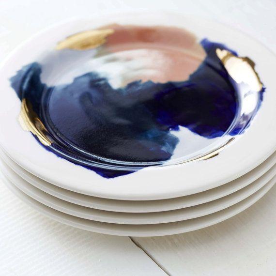Glacier Hand Painted Navy Blue, Peach, 14k Gold, Porcelain Dinnerware Set// Ceramic Dinnerware Setting for 4//Dinnerware Service for 4