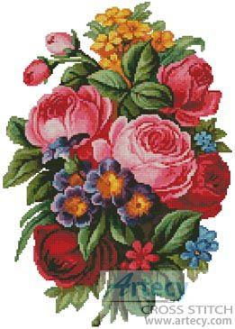 Artecy Cross Stitch. Victorian Bouquet Cross Stitch Pattern to print online.