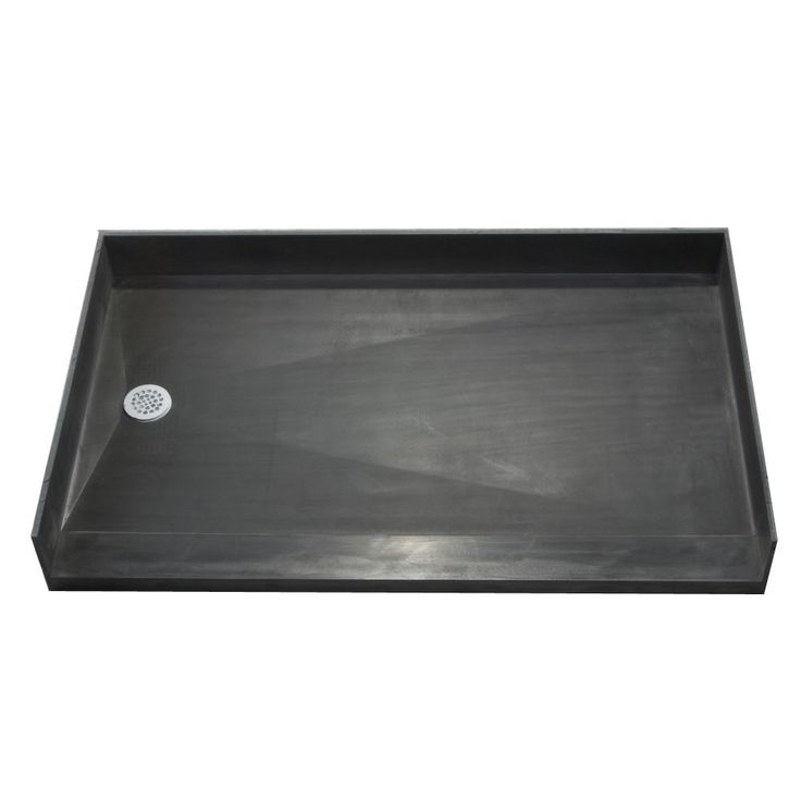 Tile Ready Shower Pan 30 x 54 Left Barrier Free PVC Drain (Shower Pan black 30x54 Left Barrier Free PVC Drain)