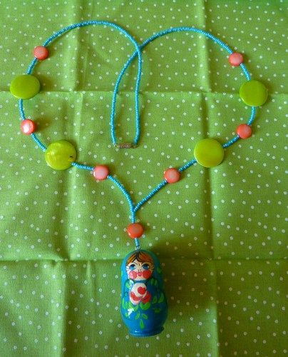 Sweet Candy Colors Russian Doll Necklace