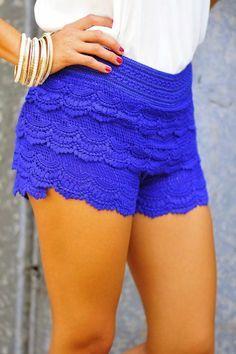 Super cute lace detail blue short