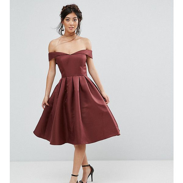 Chi Chi London Petite Off Shoulder Full Prom Midi Dress (£39) ❤ liked on Polyvore featuring dresses, brown, petite, off-shoulder dresses, party dresses, off-the-shoulder dress, off the shoulder prom dresses and bridesmaid dresses