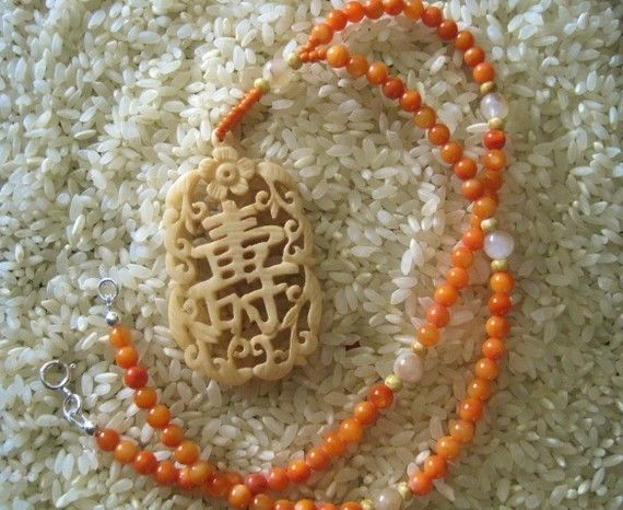 Orange  River Shell Yellow 'Jade'  & Carved Bone by TheJadeFrog, $38.00