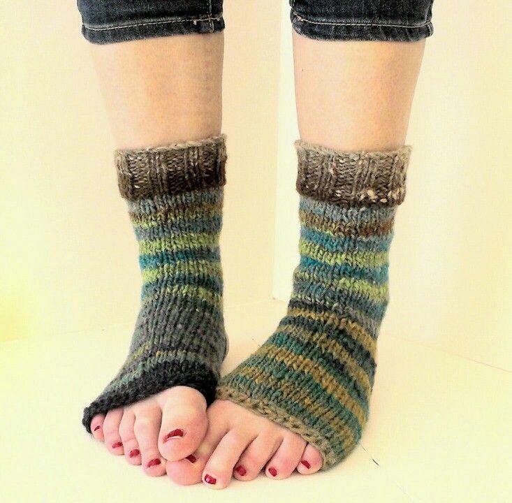 Yoga socks knitted with noro kureyon