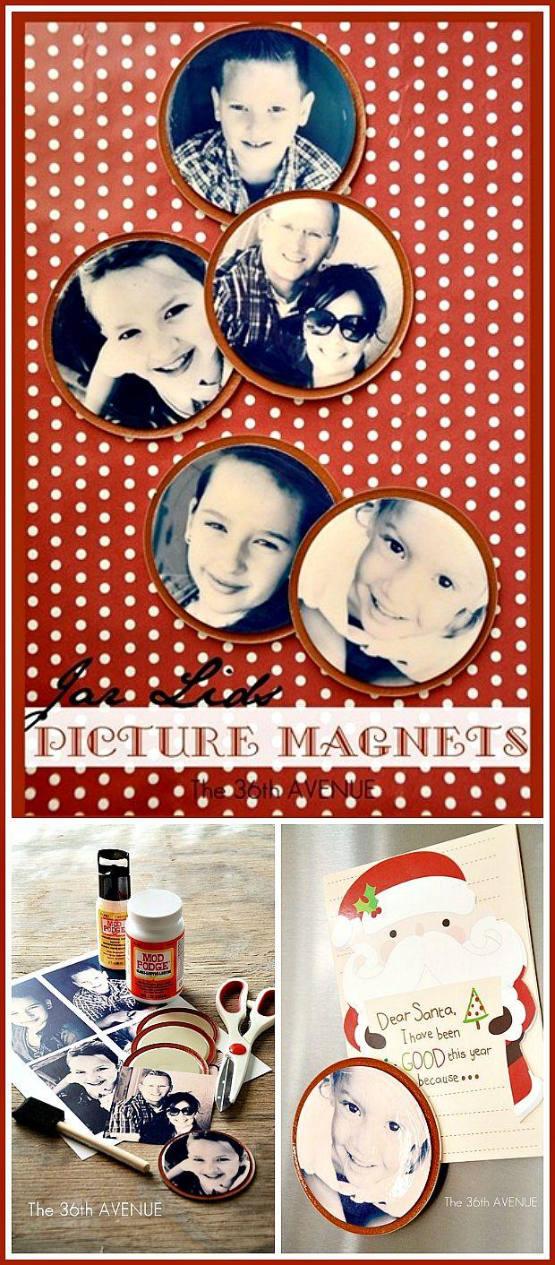 DIY Jar Lids Photo Magnet Tutorial… Such a cute Christmas Gift! the36thavenue.com #gifts #handmade #diy
