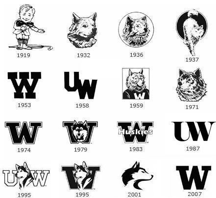 UW logos have changed dramatically over the years. 1958 over the fireplace