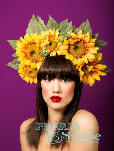 One day I shall make one of these....~ Sunshine – Giant Sunflower Headdress, Flower Crown, Eccentric, Fabulous, One of a Kind, Hand Crafted, Summer, Wedding Headwear, Rock n Roll Bride, Royal Ascot, Ladies Day, Statement Piece, Fashion, Vibrant, Chelsea Flower Show, Pearls and Swine, Pearls & Swine, Millinery, Milliner, British Independent Designer, Floral Hair Accessory, Avant Garde