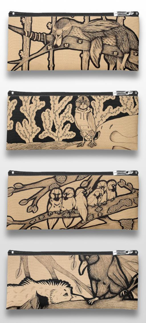 Black and White Illustrated Bird Pencil Cases #products #gifts #art #illustration