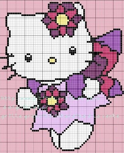 Grille Hello Kitty Pour Un Tapis Id Es Tapis Au Point Nou Pinterest Hello Kitty Kitty