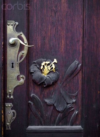 Delightful: The Doors, Doors Handles, Art Nouveau, Vintage Hardware, Front Doors, Czech Republic, Beautiful Doors, Carvings Doors, Wooden Doors