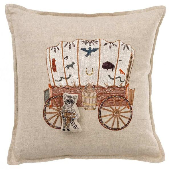 Coral & Tusk - Embroidered Pillow - Raccoon Pocket Pillow