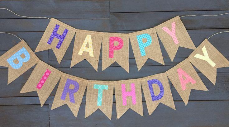 Arco iris reutilizable arpillera feliz cumpleaños Banner