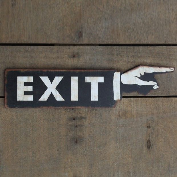 Metal Pointing Finger Exit Sign