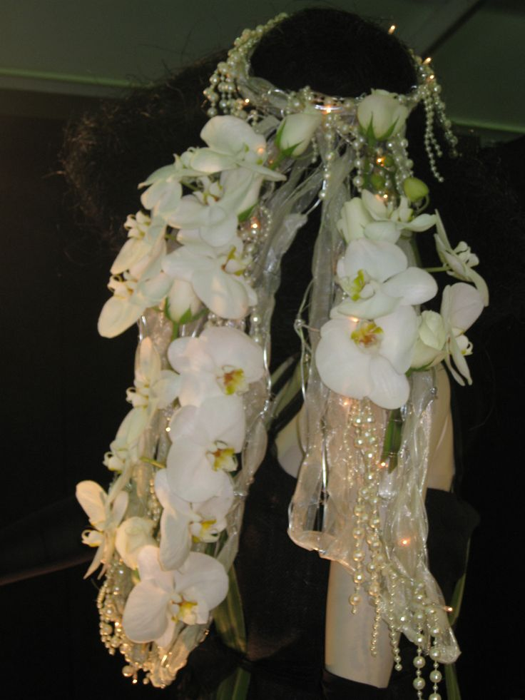 The Big Hat Phalaenopsis Orchids, White Roses on Silver Wire & Organza Ribbon
