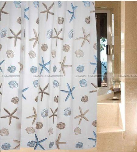 Starfish Shell Sea Bathroom Waterproof Fabric Shower Curtain With 12 Hooks  | EBay