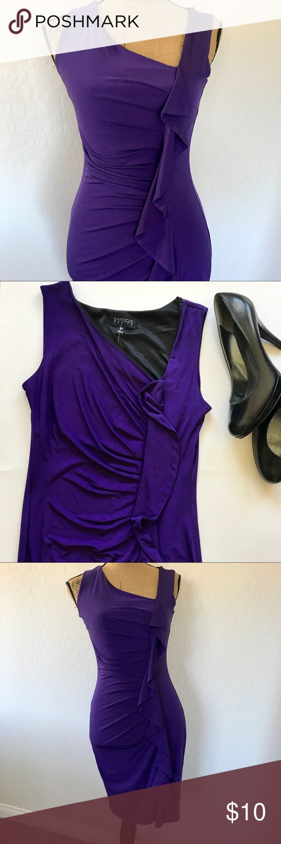 Enfocus Petites Purple Dress Gorgeous form fitting purple dress that hugs in all the right places! This dress is very flattering on! Excellent condition! Perfect for a night out! Enfocus Petite Dresses