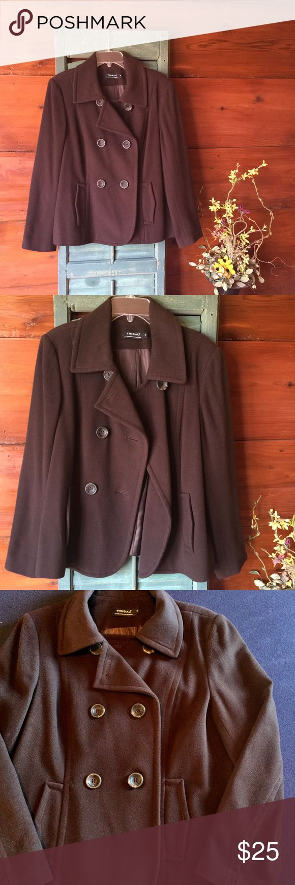 Women's Peacoat Classic Brown Women's Peacoat. Great condition. Double buttons, fully lined. Tribal Jackets & Coats Pea Coats