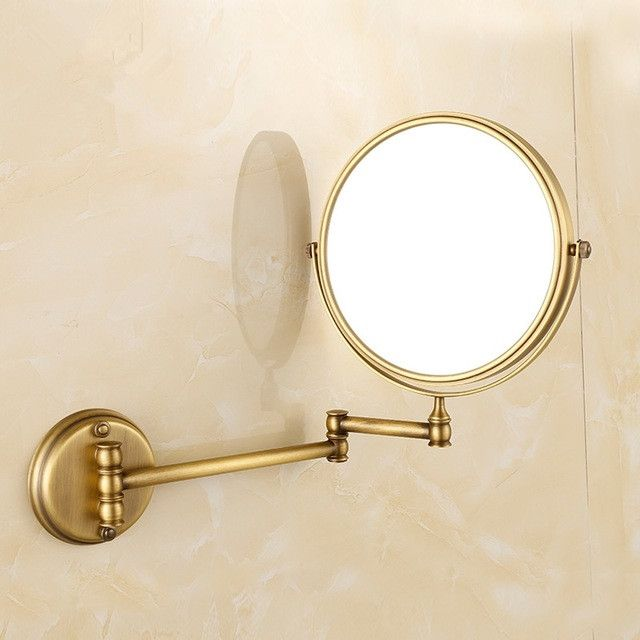 Photo Album Website  Inch Golden Polished Brass Bathroom Cosmetic Mirror Makeup Mirror Double Slide Magnifying Bath Mirrors Wall