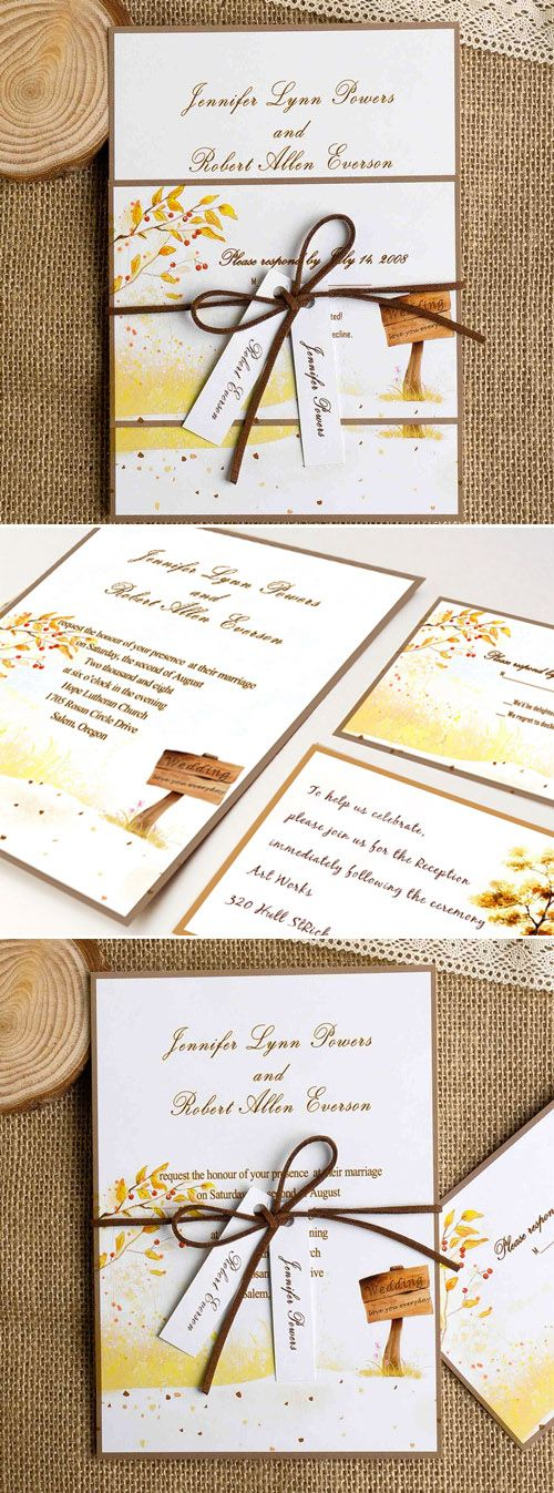 country rustic fall wedding invitations with burlap and tags