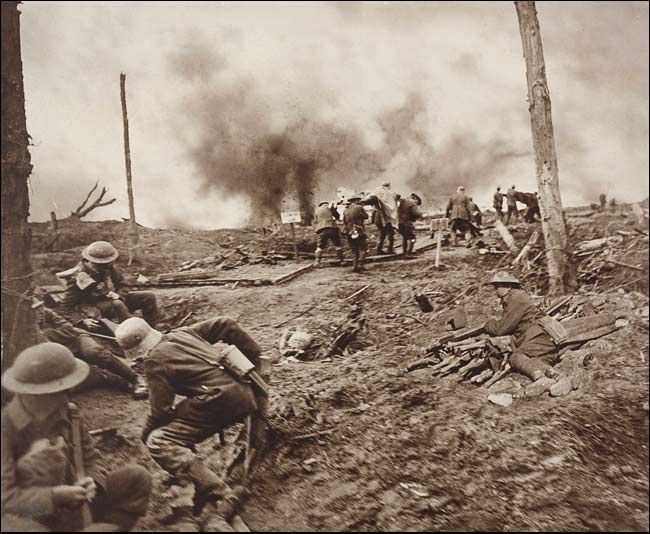 Carrying in the Wounded During the Height of Battle (Combined Negatives) by Frank Hurley